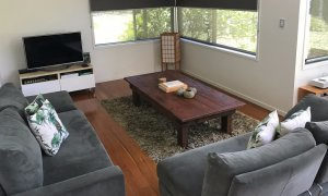 Full size living room with high quality lounges, TV, free WI-FI, Blue-ray and a selection of movies.