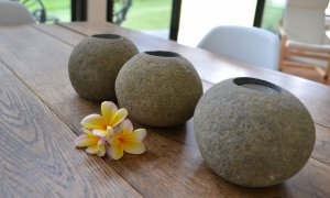 Create a soothing, candle lit evening ambience with these stone tea-light holders.