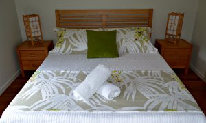 The Studio's queen bedroom features a high quality latex mattress and Japanese inspired furniture.