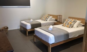 The Retreat pavilion has 2 x King Single beds, lounge room with TV and own private bathroom.