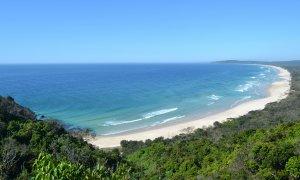 Views towards Tallows Beach and Broken Head from Cape Byron Lighthouse.