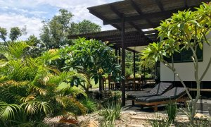 Sun lounges provide a haven of relaxation overlook tropical gardens.