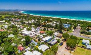 Aaloka Bay - Byron Bay - Aerial Image towards North