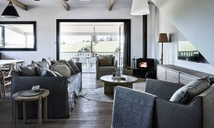 Bennys Cottage - Byron Bay - Real Living Shoot Living Room with Fire