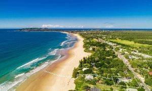 BillaBelongil - Byron Bay - Aerial Shot with Path to Beach c