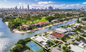 Casa Royale - Broadbeach Waters - Aerial Shot Canal Frontage Towards City b - With Outline