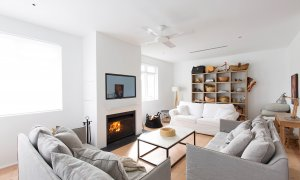 Coonanga Beach House - Avalon - Second Lounge and Fireplace
