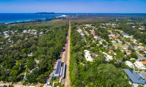 Julian Rocks House - Byron Bay - Aerial of Solar Train to Town