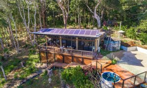 Ourmuli Cabin - Byron Bay - Aerial Towards Cabin with Pool b