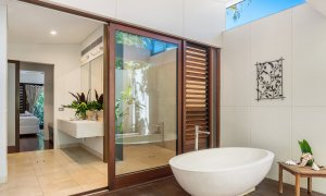 Pavilion 2 - Broken Head - Master Bedroom ensuite with outdoor bathtub