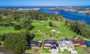 River Links - Lennox Head - Aerial View to Richmond River with Outline
