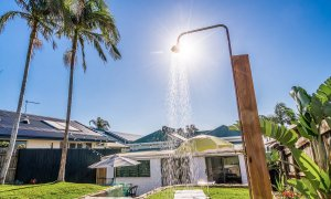 The Harrow - Byron Bay - Rear Yard and Outdoor Shower Looking Down to House