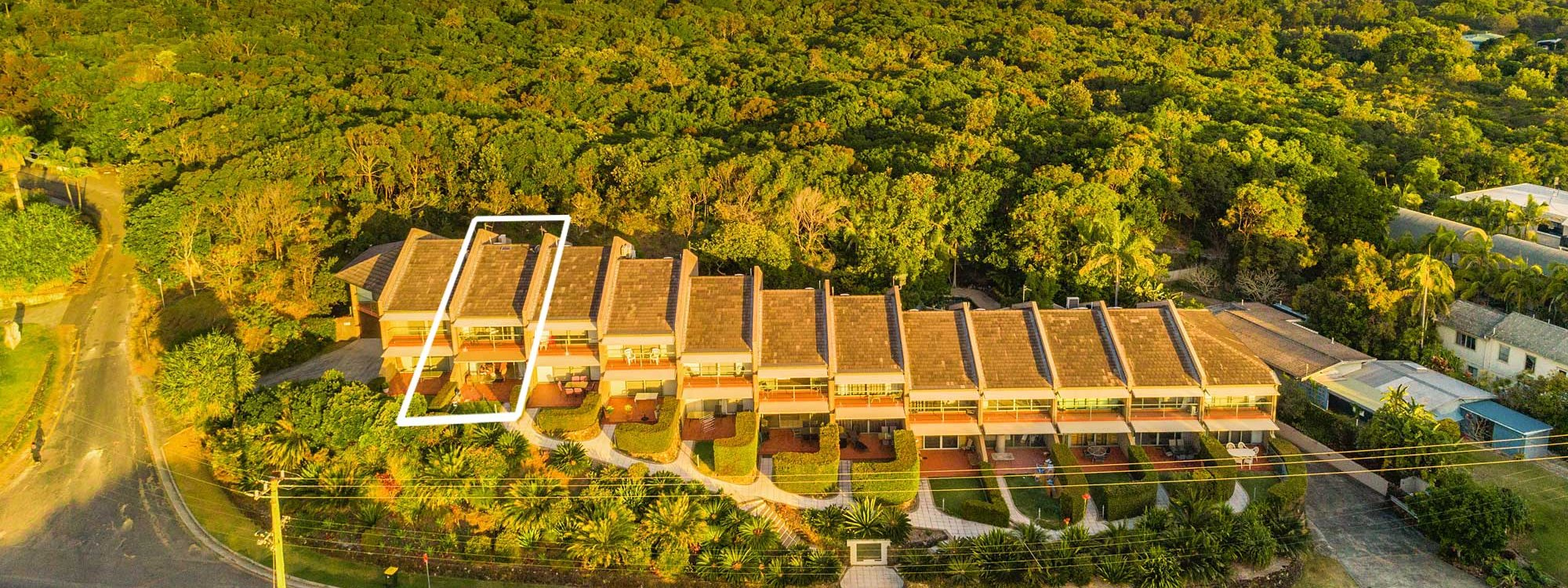 11 James Cook - Byron Bay - Aerial Front of Building Towards Tallows Property Line