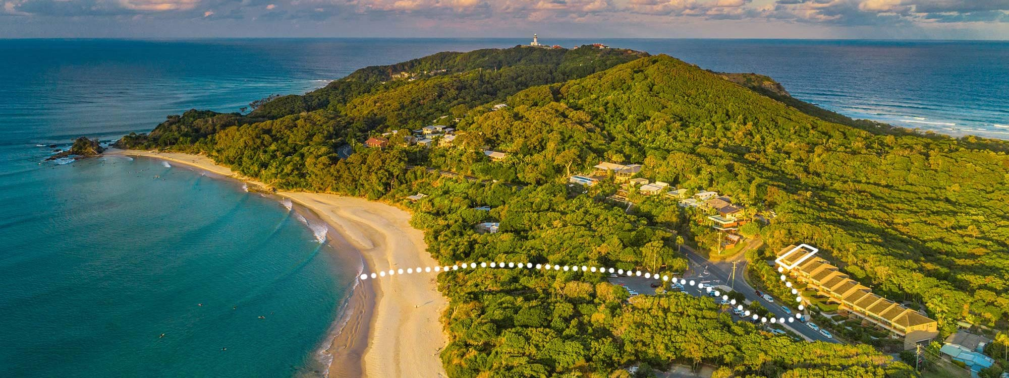 11 James Cook - Byron Bay - Aerial View of Cape Byron Line to Beach