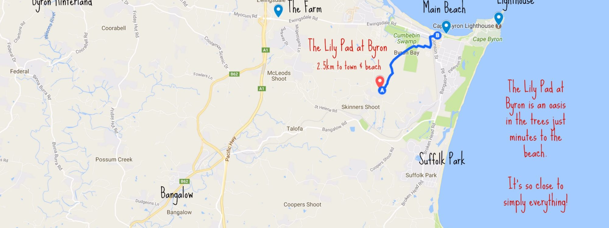The Lily Pad at Byron is so close to everything, just a 3 minute drive to Main Beach!