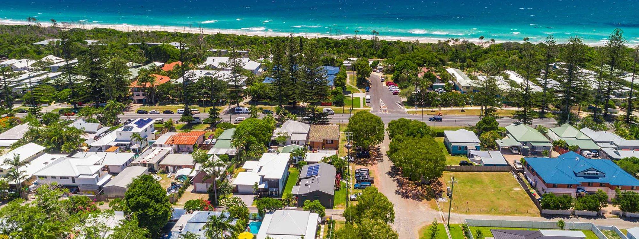Aaloka Bay - Byron Bay - Aerial image towards beach b