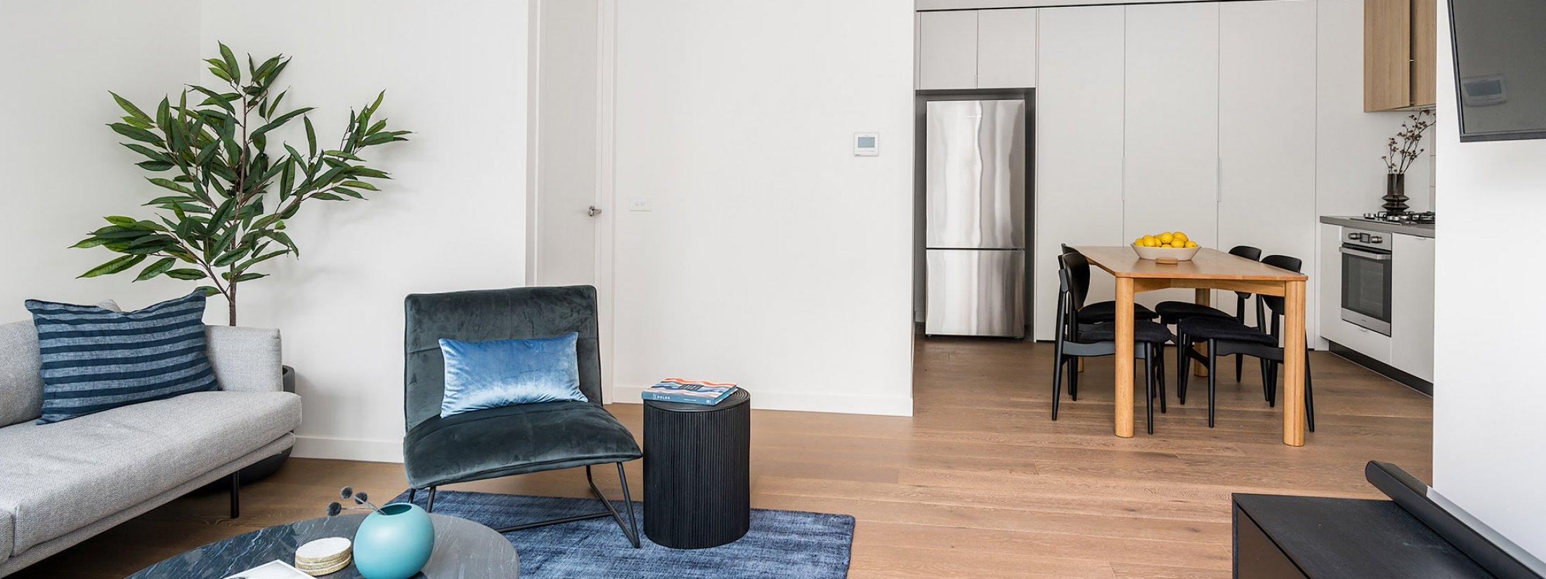 Axel Apartments 103 The Hadley - Glen Iris - Lounge towards kitchen