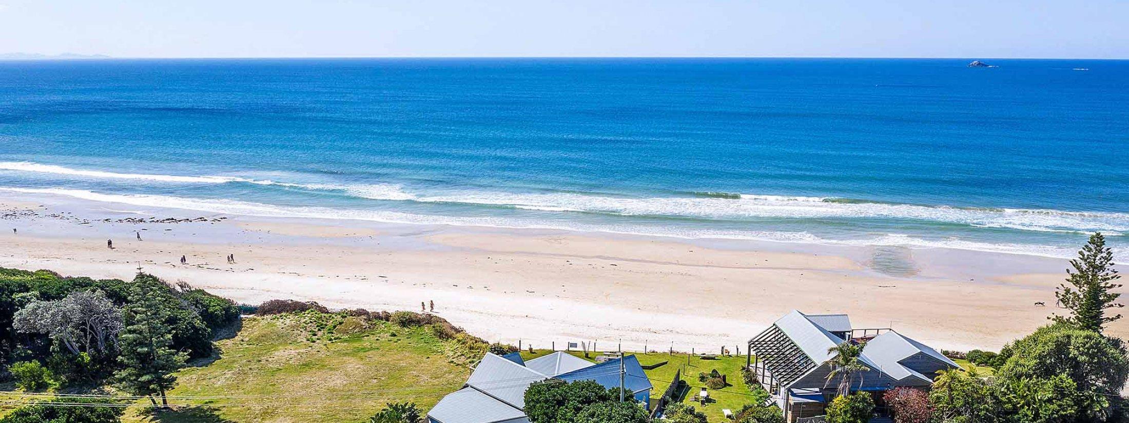 Belongil on The Beach - Byron Bay - Aerial Towards Ocean - Beachfront Location