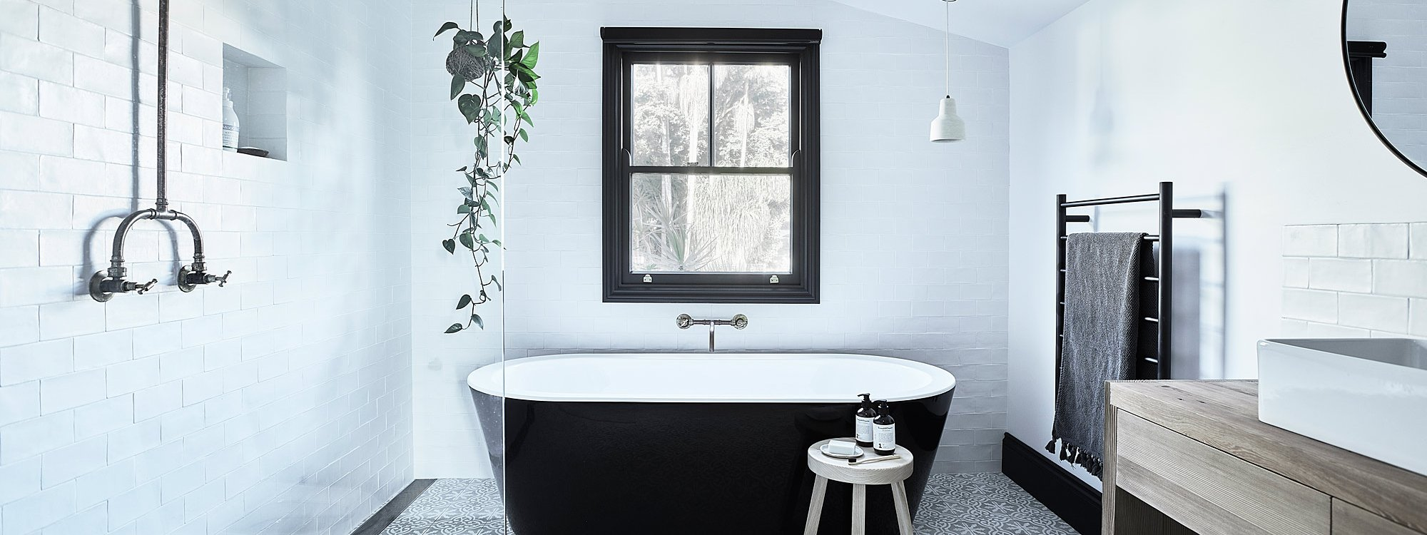 Bennys Cottage - Byron Bay - Real Living Shoot Bathroom with Bath b