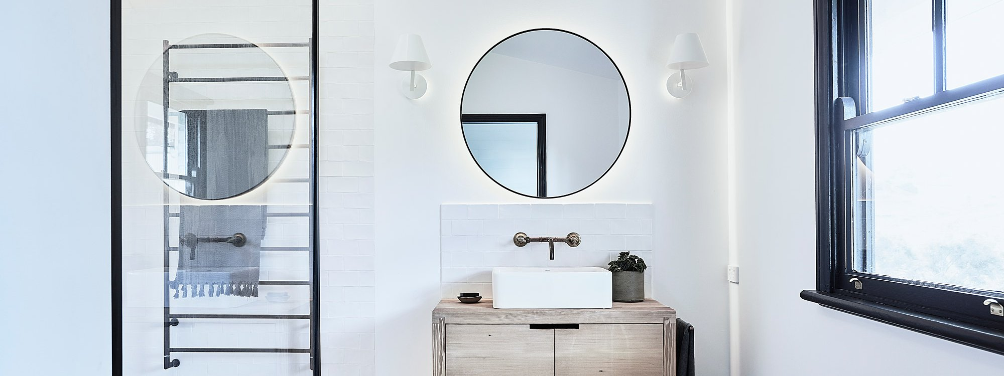 Bennys Cottage - Byron Bay - Real Living Shoot Bathroom with Lights