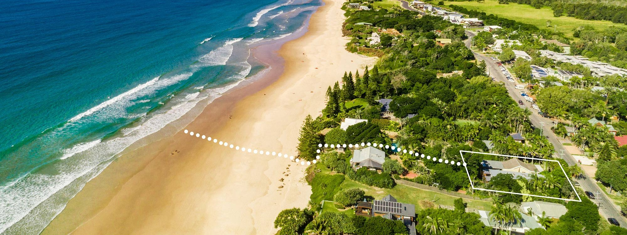 BillaBelongil - Byron Bay - Aerial Shot with Path to Beach c