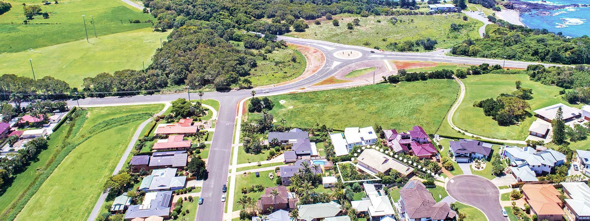 Boulders Retreat - Lennox Head - Aerial Boulders House Location to Road