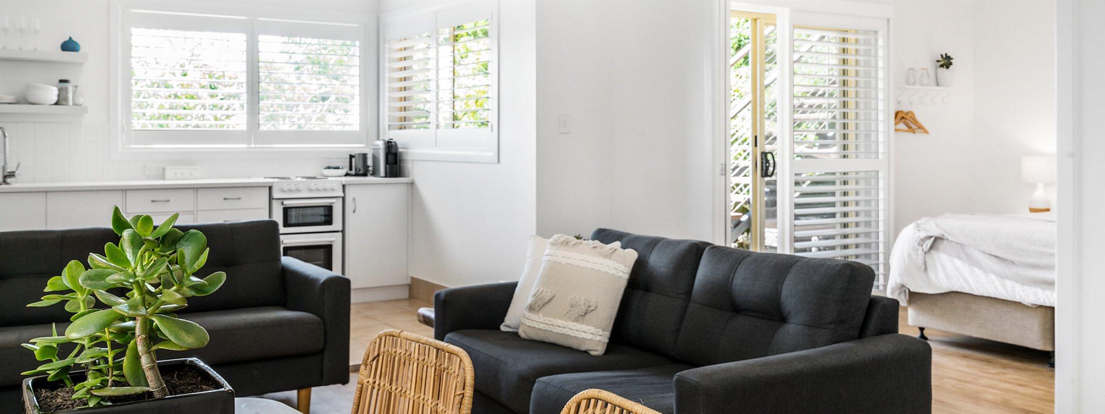 Boulders Retreat - Lennox Head - Living Room Towards Master Bedroom