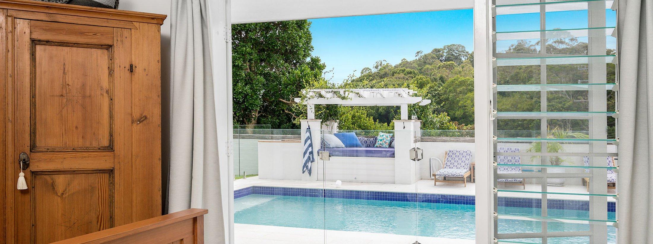 Byron Hills Hinterland Retreat - Byron Bay - Bedroom 2 View to Pool
