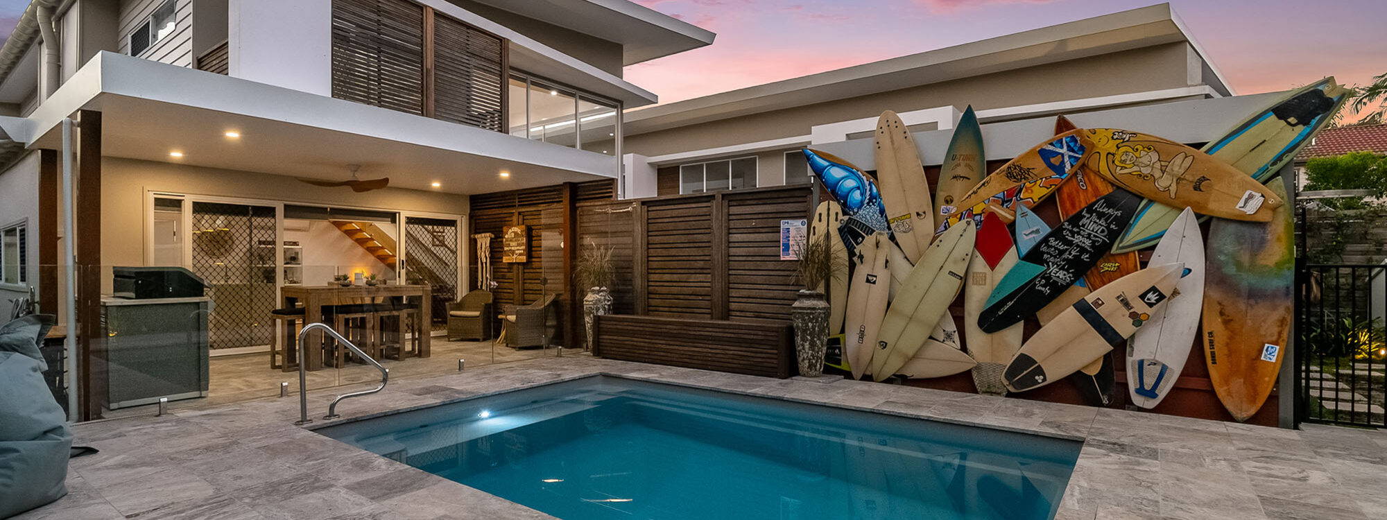 Byron Sunrise - Byron Bay - Pool and Surfboard Feature Wall