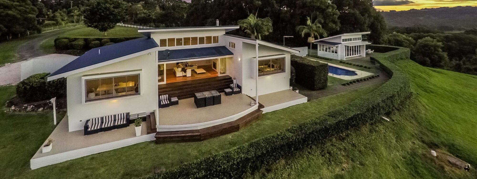 Byrons Brae - Byron Bay - Aerial Front of House c