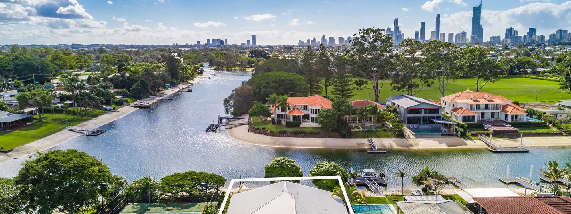 Casa Royale - Broadbeach Waters - Aerial Shot Canal Frontage Towards Canal - With Outline
