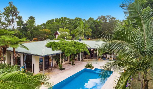 Casa Serena - Byron Bay - Aerial of Pool Looking to Rear of House