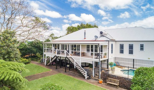 Charlottes Web - Byron Bay - Aerial Back of House and Pool